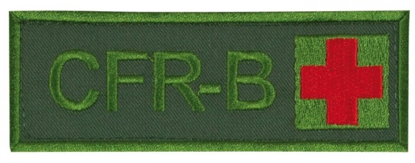 Schriftzug CFR-B mit Kreuz Oliv/Rot auf Klett