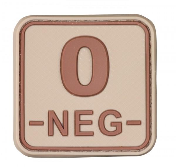 3D Blutgruppenpatch 50x50 Khaki/Braun 0 neg -