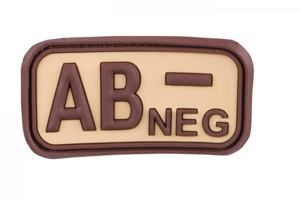 3D Blutgruppenpatch Khaki/Braun AB neg -