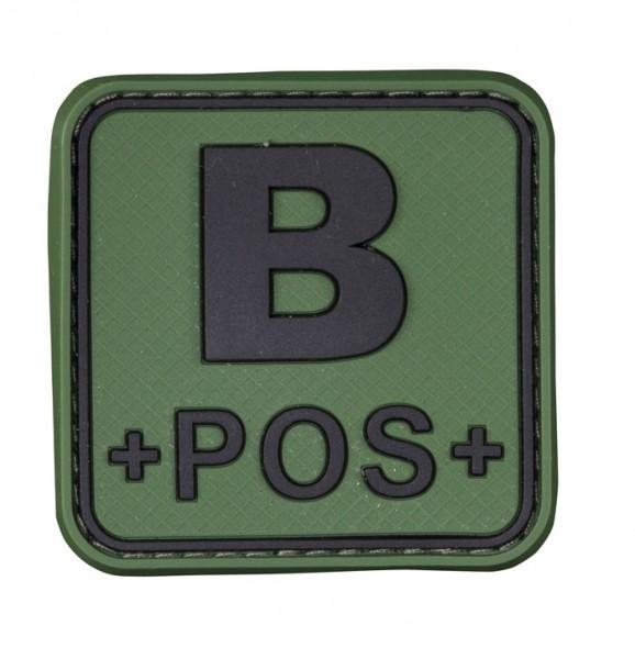 3D Blutgruppenpatch 50x50 Grün/Schwarz B pos +