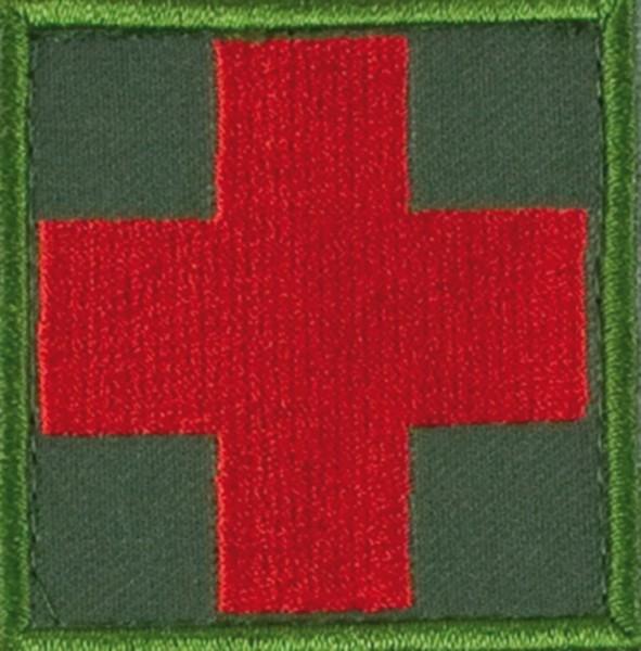 Medic Kreuz Oliv/Rot mit Klett Groß