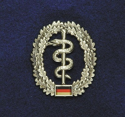 BW Barett Abzeichen Sanitätstruppe Metall