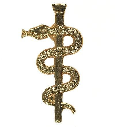 BW Mützenanstecker Metall Äskulap-Stab Gold
