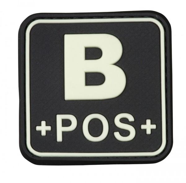 3D Blutgruppenpatch 50x50 schwarz/glow B pos +