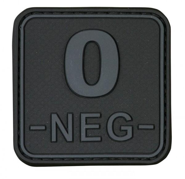 3D Blutgruppenpatch 50x50 Grau/Schwarz 0 neg -