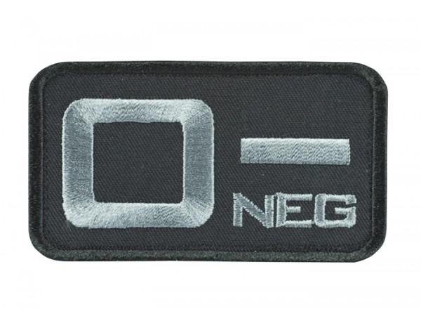 Blutgruppenkennzeichnung Schwarz/Grau 0 neg -