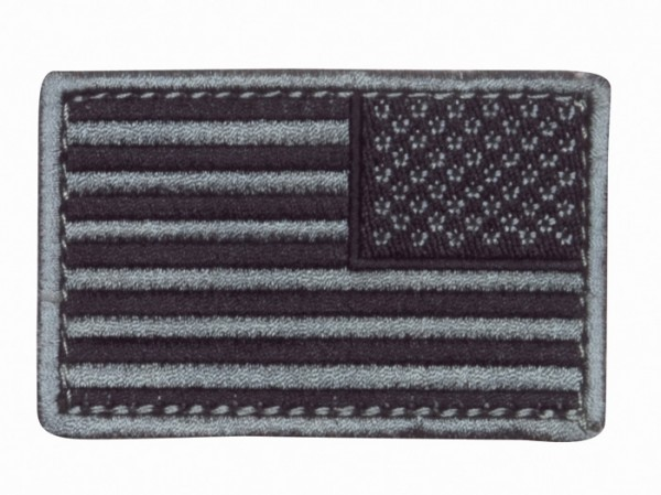 US Flagge Silber/Schwarz Textil/Klett - Reverse