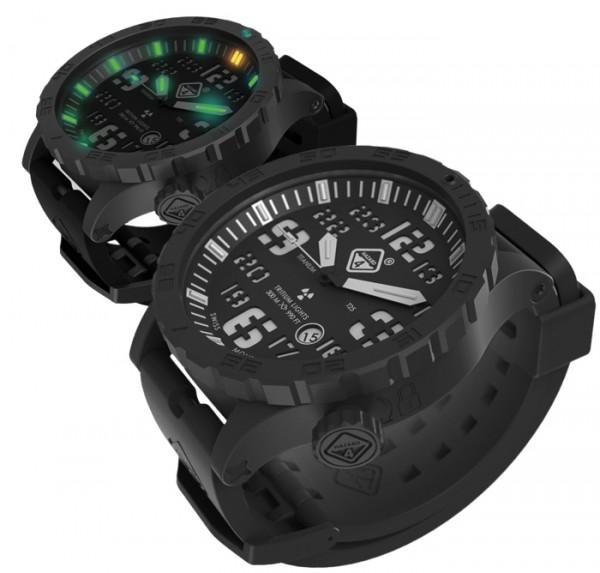 Hazard 4 Uhr Heavy Water Diver - Nightwatch White GMT Grün/ Gelb