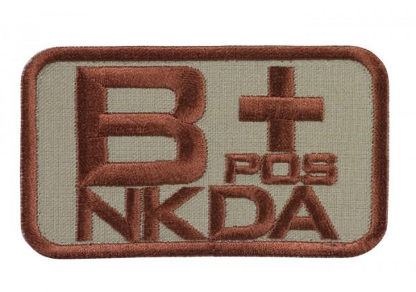 Blutgruppenkennzeichnung Sand/Braun NKDA B pos +
