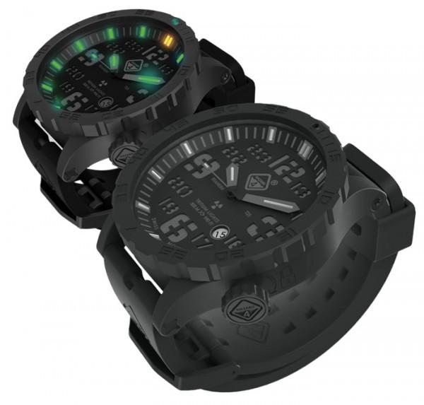 Hazard 4 Uhr Heavy Water Diver PVD-Titan Graues Zifferblatt Gelb/Grüne Leuchtpunkte