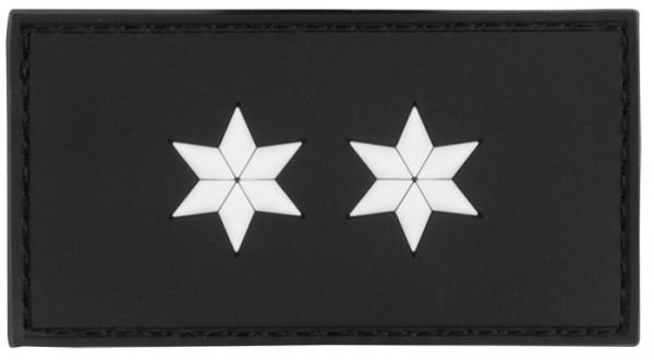 3D Dienstgradabzeichen Polizeioberkommissar (2 Sterne, weiss)