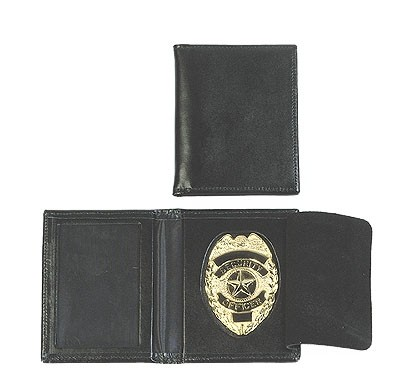 Ausweishülle Leder mit Security-Abzeichen Gold