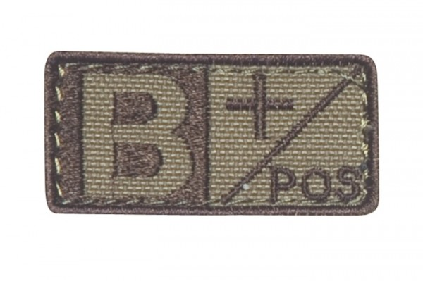 Blutgruppenpatch Coyote/Braun B pos + 229B+003