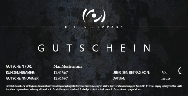 RECON Gutschein - Wert 50,00 Euro
