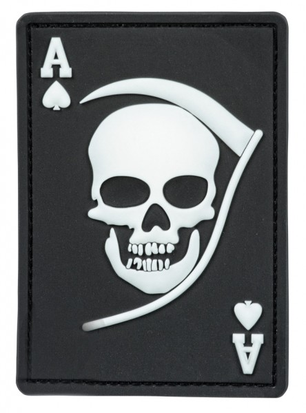 3D Rubber Patch Death Ace Schwarz/Weiß