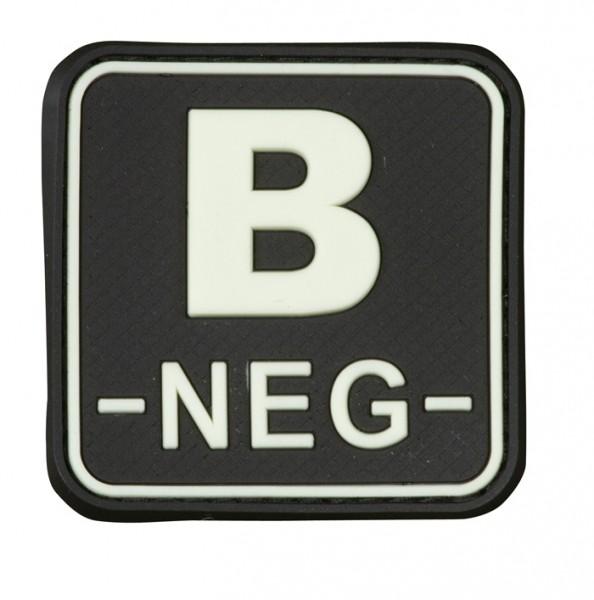 3D Blutgruppenpatch 50x50 schwarz/glow B neg -
