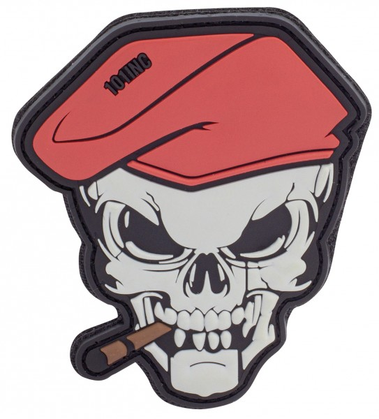 3D Rubber Patch Cigar Skull