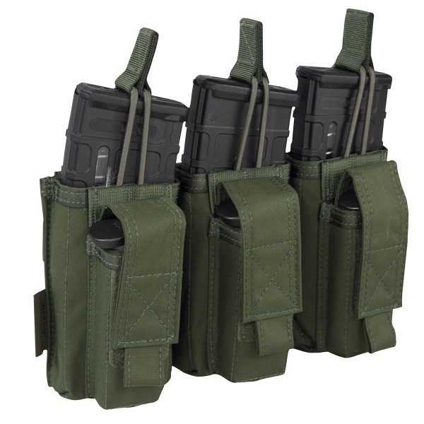 Warrior Elite Ops Triple Open M4 & 9mm Mag Pouches Oliv