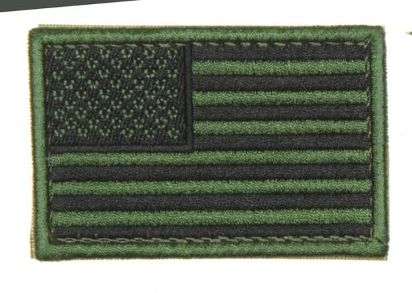 US Flagge Oliv/Schwarz Textil/Klett