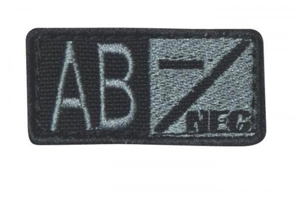Blutgruppenpatch Grau/Schwarz AB neg - 229AB-007