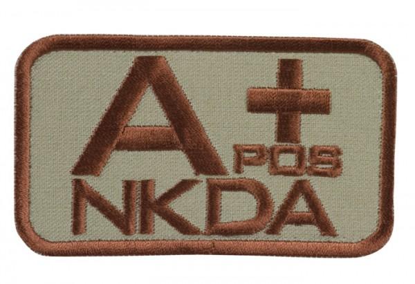 Blutgruppenkennzeichnung Sand/Braun NKDA A pos +