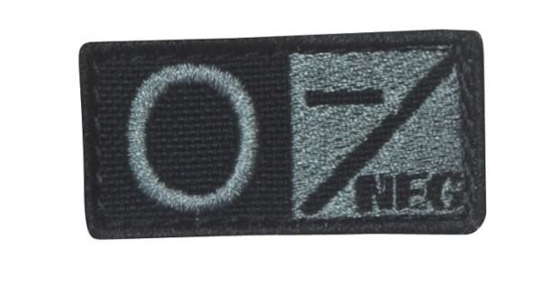 Blutgruppenpatch Grau/Schwarz O neg - 229O-007