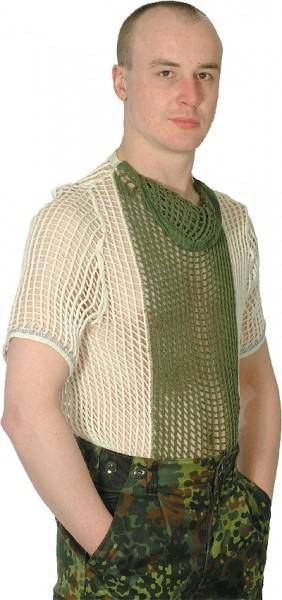 Netzunterhemd 1/2 Arm Weiß/Oliv