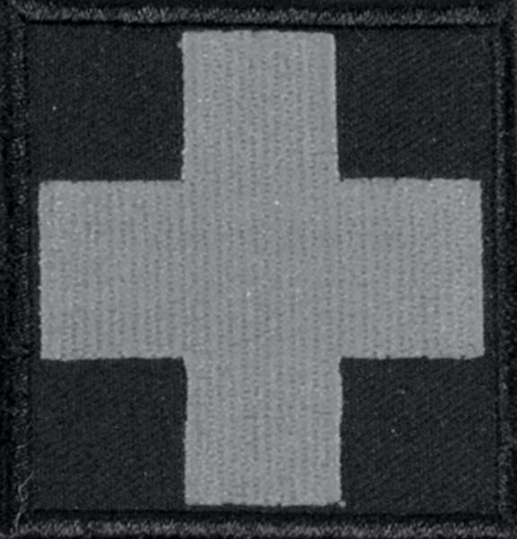 Medic Kreuz Schwarz/Weiss Fluoreszierend mit Klett Groß