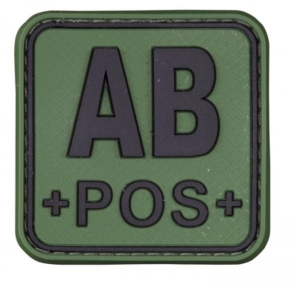 3D Blutgruppenpatch 50x50 Grün/Schwarz AB pos +