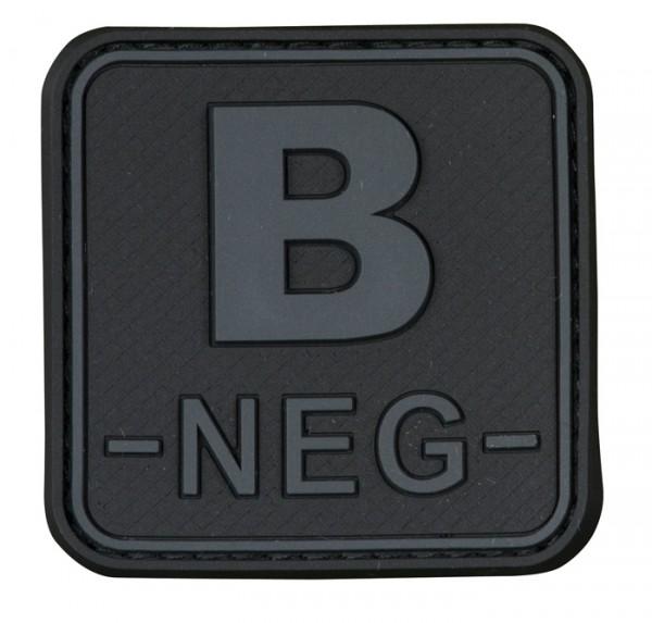 3D Blutgruppenpatch 50x50 Grau/Schwarz B neg -