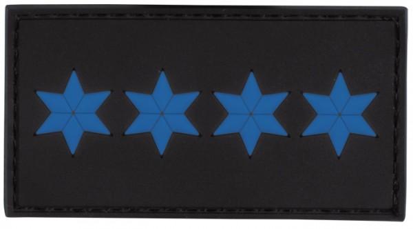 3D Dienstgradabzeichen Polizeihauptmeister (4 Sterne, blau)