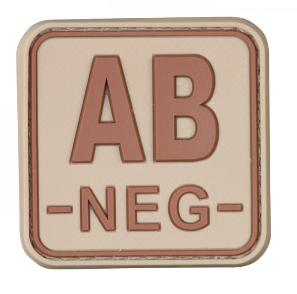 3D Blutgruppenpatch 50x50 Khaki/Braun AB neg -