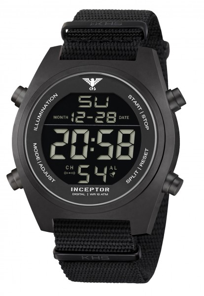 KHS Inceptor Black Steel Digital Armbanduhr NATO