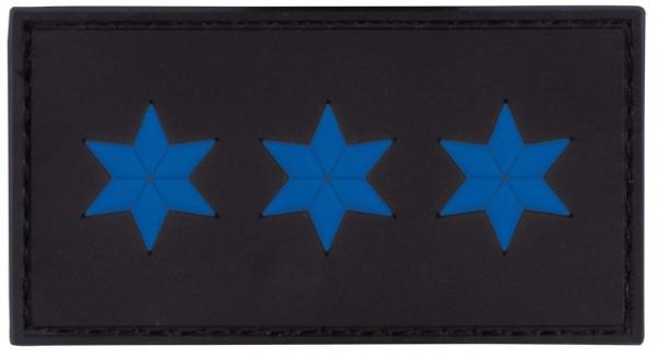 3D Dienstgradabzeichen Polizeiobermeister (3 Sterne, blau)