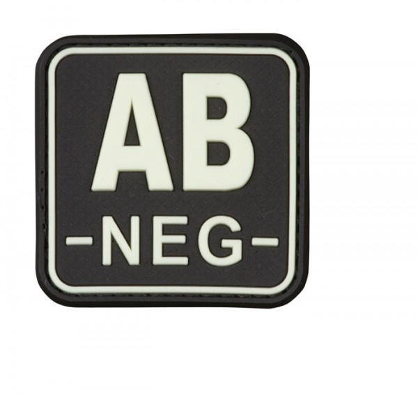 3D Blutgruppenpatch 50x50 schwarz/glow AB neg -