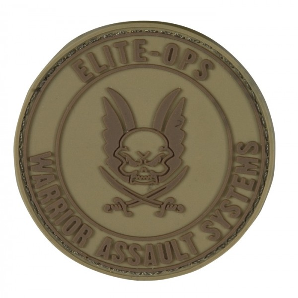 Warrior Elite Ops Rubber Patch Round Logo Tan