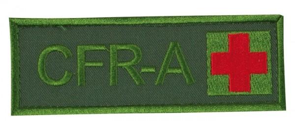 Schriftzug CFR-A mit Kreuz Oliv/Rot auf Klett