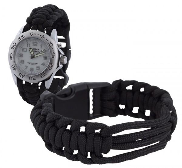 Parachute Cord Uhrenarmband Schwarz