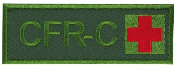Schriftzug CFR-C mit Kreuz Oliv/Rot auf Klett