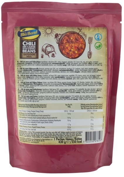 Bla Band Outdoor Meal Wet Pouch - Chilli Sin Carne