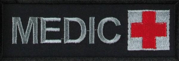 Schriftzug Medic mit Kreuz Schwarz/Grau/Rot