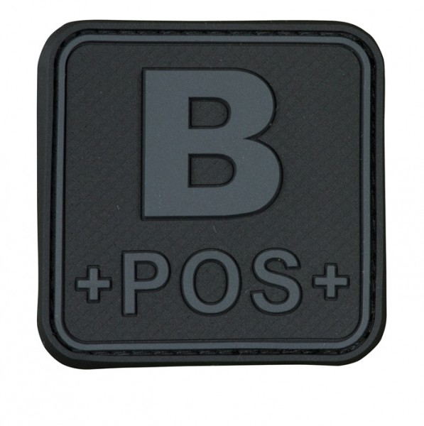 3D Blutgruppenpatch 50x50 Grau/Schwarz B pos +