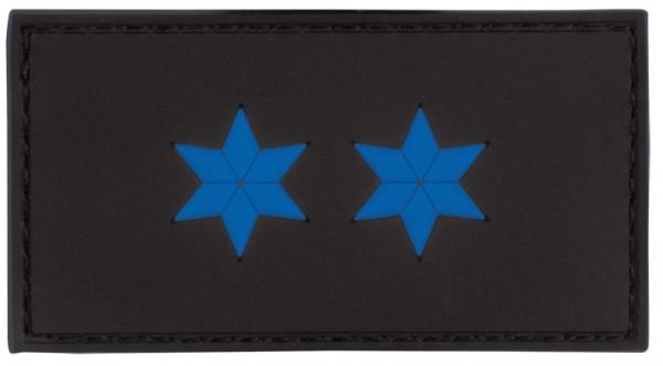 3D Dienstgradabzeichen Polizeimeister (2 Sterne, blau)
