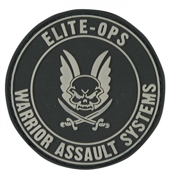 Warrior Elite Ops Rubber Patch Round Logo Black