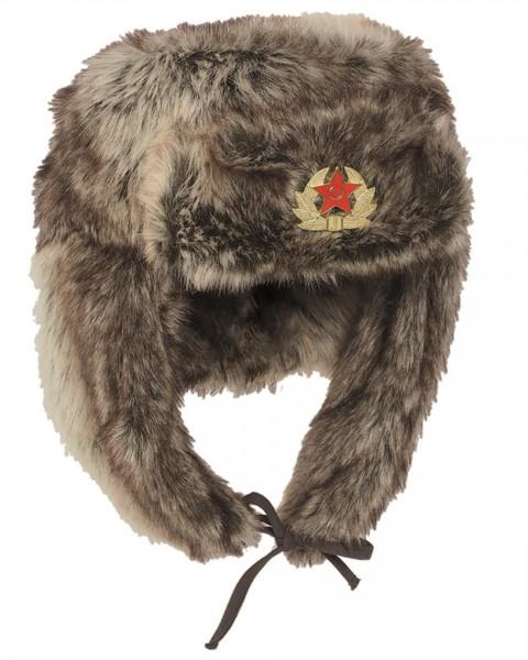 """Russische Wintermütze """"Shapka"""" mit Abzeichen"""