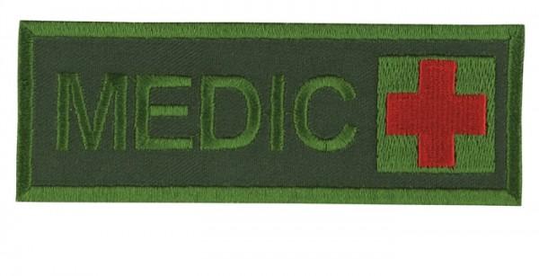 Schriftzug Medic mit Kreuz Oliv/Rot auf Klett