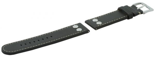 Laco Ersatzarmband 22mm Leder Schwarz - 401876XL