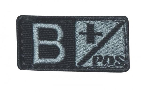 Blutgruppenpatch Grau/Schwarz B pos + 229B+007
