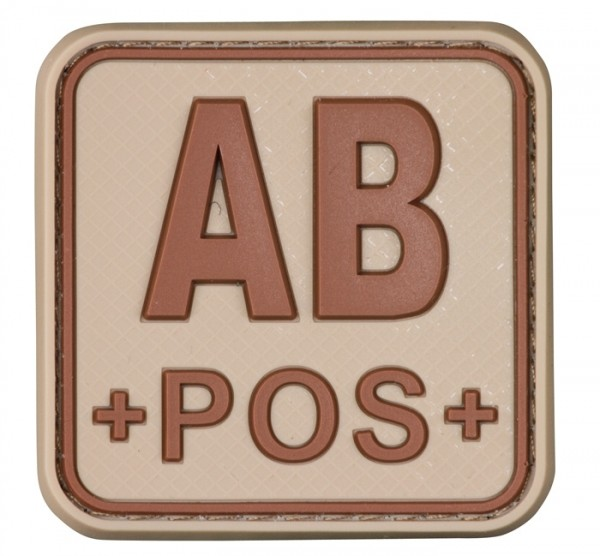 3D Blutgruppenpatch 50x50 Khaki/Braun AB pos +