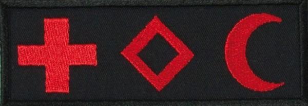 Medic Symbole International Schwarz/Rot auf Klett